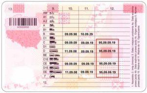 Спеціальна позначка код 95 у водійському посвідченні