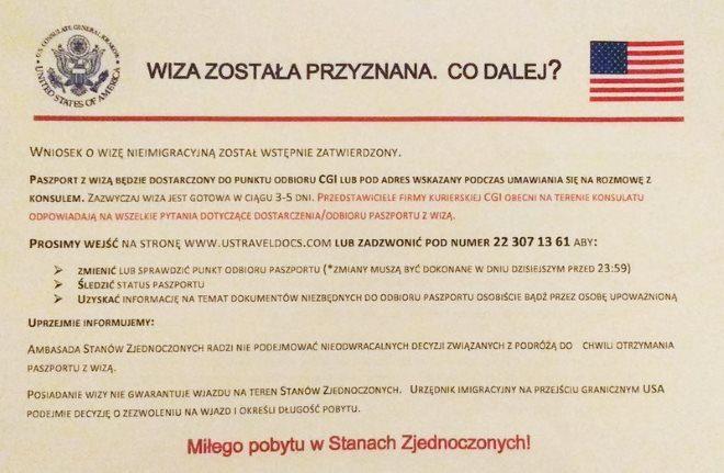 Віза в США в Польщі