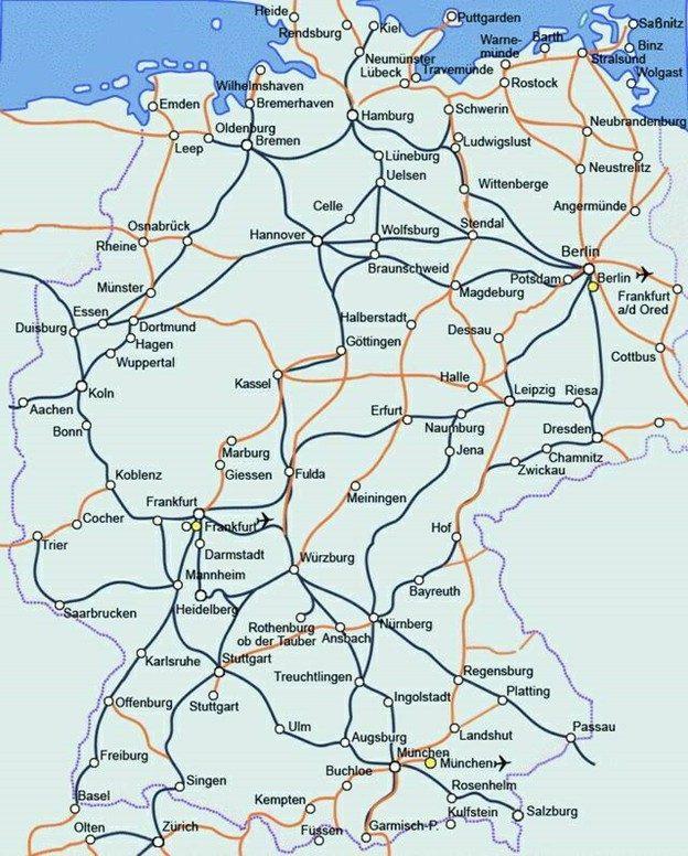 Карта залізничного сполучення Німеччини