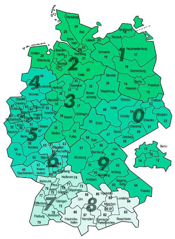 Карта поштових індексів в Німеччині