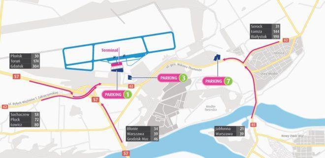 Схема аеропорту Варшава Модлін