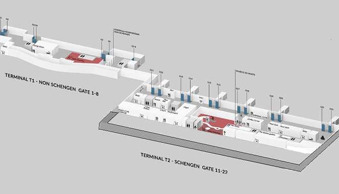 Схема термінала 1 в Гданському аеропорту імені Леха Валенси