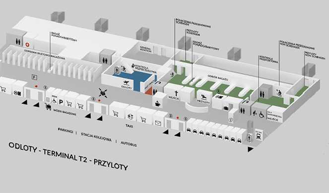 Схема терміналу 2 в Гданському аеропортові імені Леха Валенси