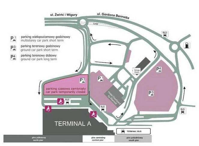 Схема парковок в аеропорт Фредеріка Шопена