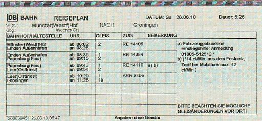 Залізничний квиток в Німеччині