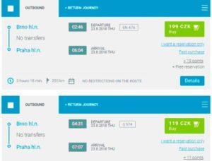 Розклад поїздів з Брно в Прагу