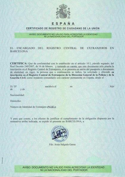 Сертифікат NIE