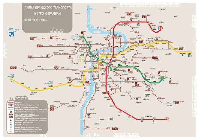 Карта трамваїв і метро Праги