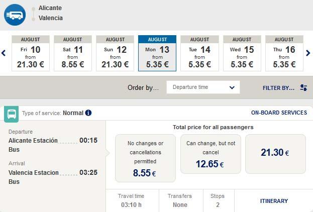 Розклад автобусів з Аліканте у Валенсію