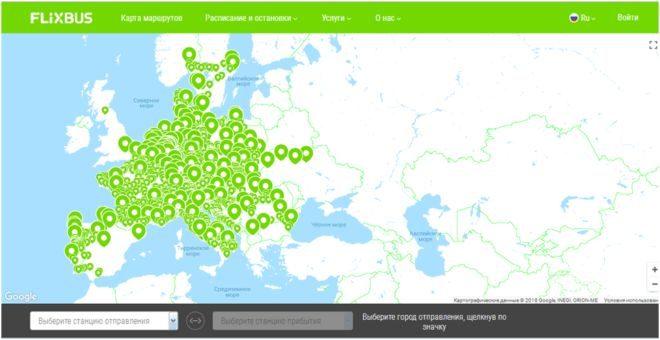 Пошук маршруту на сайті PolskiBus