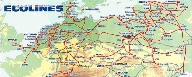 Карта маршрутів Еколайнс
