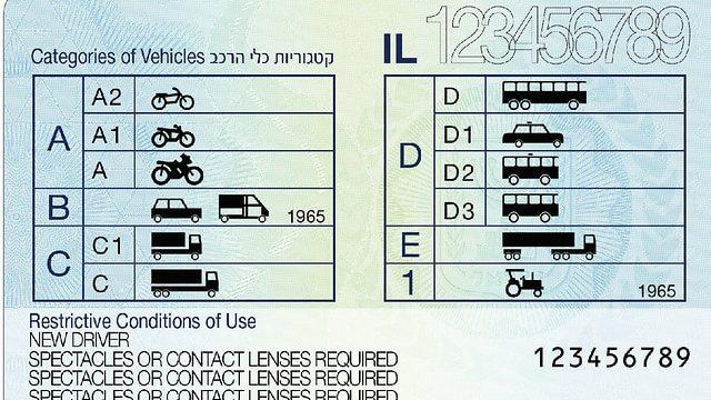 водійські права нового зразка в Ізраїлі 2