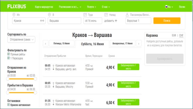 Розклад маршрутів FlixBus