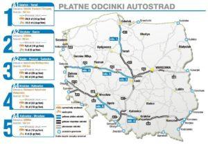 Карта платних доріг в Польщі