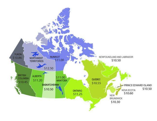 Мінімальна погодинна заробітна плата в Канаді