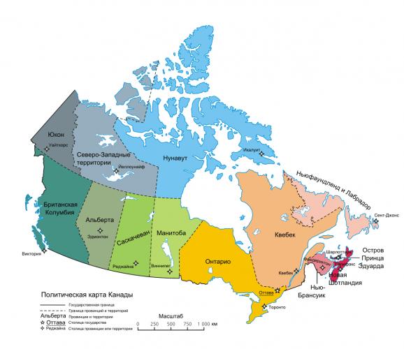 Карта провінцій і територій Канади